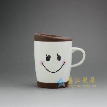 RYDY31 手绘卡通脸谱橡皮底盖茶杯 品茗杯 咖啡杯