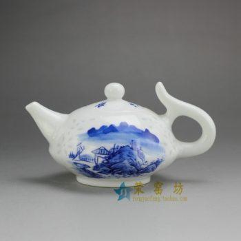 RZEP02 手绘青花山水风景图茶壶 泡茶壶