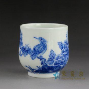 14BS69手绘青花花鸟图茶杯 品茗杯 功夫茶杯