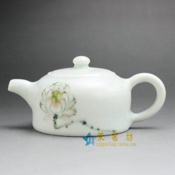 14HM66手绘粉彩荷莲图茶壶 泡茶壶