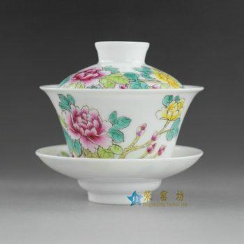 14NY23手绘粉彩富贵花开盖碗 泡茶碗