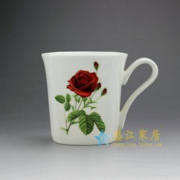 RYDY25-B 手绘粉彩玫瑰花朵茶杯 品茗杯 咖啡杯