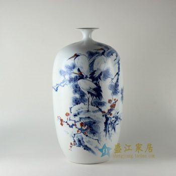RZDN02手绘青花斗彩松鹤延年图冬瓜瓶 花瓶