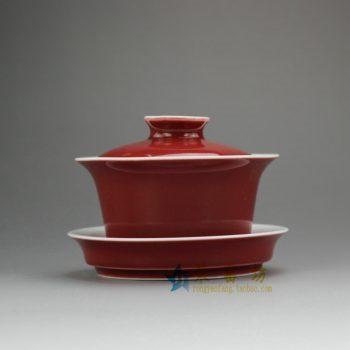RZEL03 7947颜色釉红色盖碗 三才碗 泡茶杯