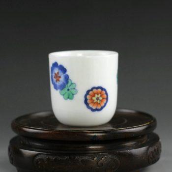 14AS145 青花斗彩团花图茶杯 品茗杯