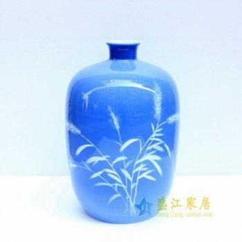 2u01-4 手绘釉下彩花草图冬瓜瓶 花瓶