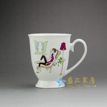 RYDY27-D 手绘粉彩现代浪漫休闲画茶杯 品茗杯