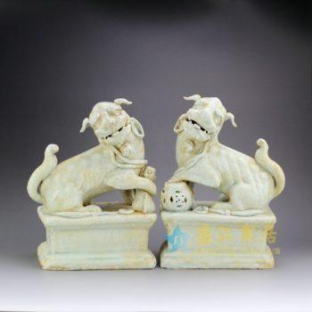 RZEI01 仿古雕塑对狮摆件 狮子 狮子狗 仿宋代 五大名窑 青白瓷 开片裂纹