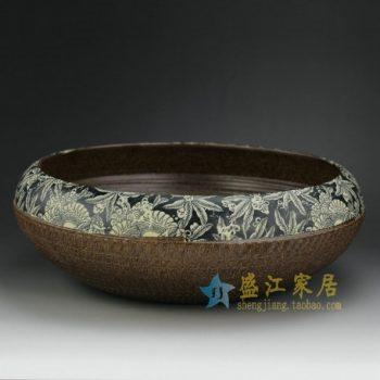 RZER01-A 8318手工颜色釉刻纹花卉花盆 花缸