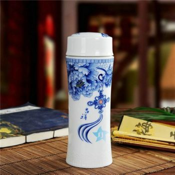 CBAJ02-F手工全瓷青花吉祥如意图文茶杯 养生保温杯 旅行杯 尺寸:高 19.8cm 口径 5.6cm 容量 300ml