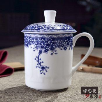 CBDI43-G-36手工高档骨瓷青花花卉图茶杯 品茗杯 老板杯尺寸 高15cm口径9cm容量550m