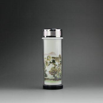 CBAJ03-C 8267手工粉彩山水画水晶玻璃外壳瓷杯 养生保温杯 旅行杯 尺寸:高 19.3cm 口径 5cm 容量 320cm