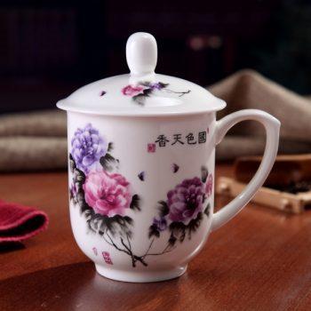手工高档骨瓷景式杯 粉彩国色天香图文茶杯 品茗杯 老板杯尺寸:高15/11cm 口径 11cm 容量 550ml