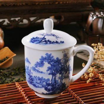 CBDI33-F-01手工高档骨瓷景式杯 青花山里行人图茶杯 品茗杯 老板杯 尺寸:高15/11cm 口径 11cm 容量 550ml