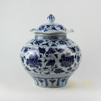 RZEZ02-A 9367手工青花缠枝花卉纹盖罐 储物罐 尺寸 : 口径 18.3厘米 肚径 34.2厘米 高 39.6厘米