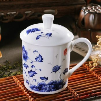 CBDI43-W-13手工骨瓷青花花卉图纹茶杯 品茗杯 老板杯尺寸 高15cm口径9cm容量550ml