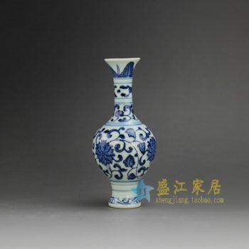 RZEV01-B 8380j513手工青花缠枝莲花瓶 花插 尺寸:口径 3.5厘米 肚径 6.5厘米 高 14.8厘米