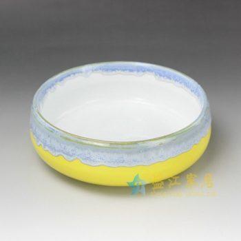 RYYF24-A 7305陶艺流口釉 花缸 花缽 花插 尺寸: 口径 18.5厘米 肚径 19.3厘米 高 6.8厘米