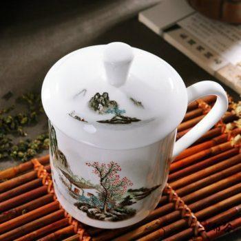 CBDI43-V-07手工高档骨瓷釉下彩山村秀色图茶杯 品茗杯 老板杯尺寸 高15cm口径9cm容量550m