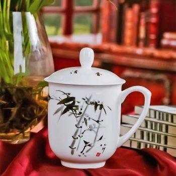 CBDI33-J-05手工高档骨瓷景式杯 釉下彩高风亮节图茶杯 品茗杯 老板杯 尺寸:高13cm 口径 8cm 容量 400ml