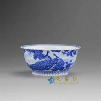 RZBE02-B 8164手绘青花孔雀牡丹图茶杯 品茗杯 功夫茶具 尺寸: 口径 7.6厘米 高 3.5厘米