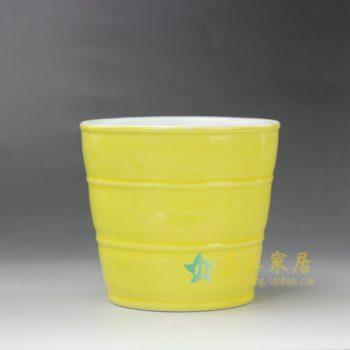 RYYF23-B 7291颜色釉 黄色刻纹环圈花缽 花盆 尺寸: 口径 11.6厘米 高 10.8厘米