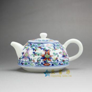 14G118 7485手工青花斗彩花卉纹茶壶 手柄泡茶壶 尺寸: 口径 5.6厘米 肚径 10.2厘米 高 7.5厘米 容量 230毫升