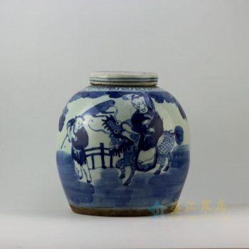 RZEY01 9266仿古青花麒麟送子图盖罐 储物罐 尺寸: 口径 10.8厘米 肚径 28.5厘米 高 29.8厘米