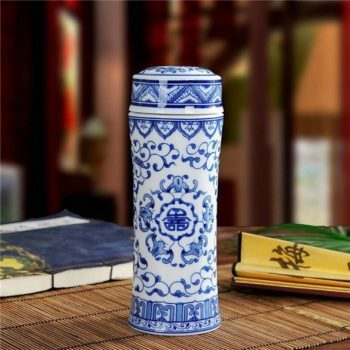 CBAJ02-H-01手工全瓷青花五福捧寿图文茶杯 养生保温杯 旅行杯 尺寸:高 19.8cm 口径 5.6cm 容量 300ml