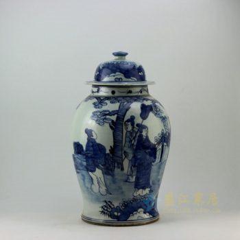 RZEY05 9289仿古青花人物风景画盖罐 将军罐 储物罐 尺寸: 口径 14.3厘米 肚径 25.8厘米 高 44.5厘米