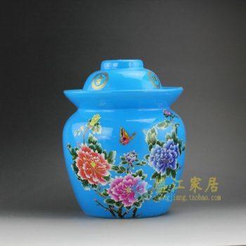 DL98-E 8247粉彩蓝地蝶恋花储物罐 盖罐 泡菜罐