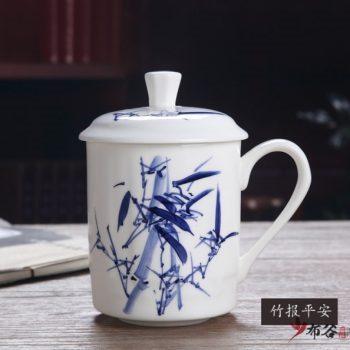 CBDI43-D-36手工高档骨瓷青花高风亮节图茶杯 品茗杯 老板杯尺寸 高15cm口径9cm容量550ml