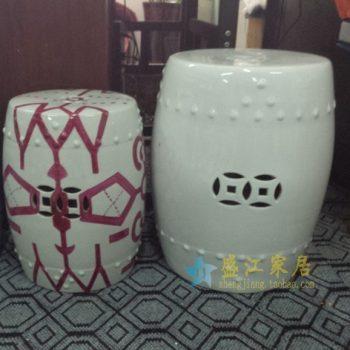 RYIR108-A-h51w42k34j3200颜色釉 白色镂空双钱图瓷凳 凉墩 鼓凳 尺寸:口径 34厘米 肚径 42厘米 高 51厘米
