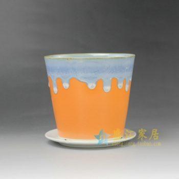 RYYF18-F 7300陶艺流口釉带托花盆 花缽 尺寸:口径12厘米 托盘径 11.6厘米