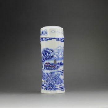 CBAJ02-D 8287手工全瓷青花斗彩锦绣山川图茶杯 养生保温杯 旅行杯 尺寸:高 19.8cm 口径 5.6cm 容量 300ml
