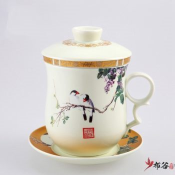 CBAE02-A-07手工无光釉金边四件套带茶漏茶杯 釉下彩鸟趣图茶杯 品茗杯 老板杯 尺寸: 高130cm 碟径 110cm 容量 300ml