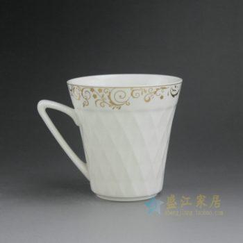 CBAG01-e 新骨瓷金边花卉纹茶杯 品茗杯 尺寸: 口径 9.8厘米 高 10厘米 容量 340毫升