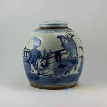 RZEY02 9271仿古青花舞狮图 盖罐 储物罐 尺寸:口径 10.8厘米 肚径 28.5厘米 高 29.8厘米