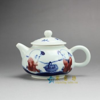 14G119 7489手工青花斗彩童趣图茶壶 手柄泡茶壶 尺寸: 口径 5.2厘米 肚径 9.2厘米 高 8.2厘米 容量 220毫升