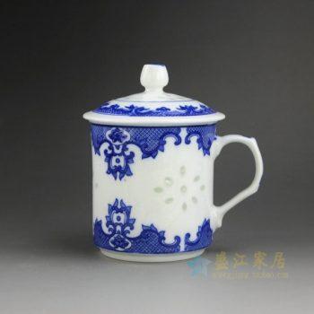 CBAH01-A 青花玲珑如意花纹茶杯 品茗杯 泡茶杯 尺寸: 口径 10厘米 盖径 11.2厘米 高 14.8厘米 容量 550毫升