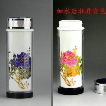 CBAJ04手工水晶玻璃外套变色牡丹养生杯 瓷杯 保温变色杯 旅行杯 尺寸:高 19.3cm 口径 5cm 容量 320cm