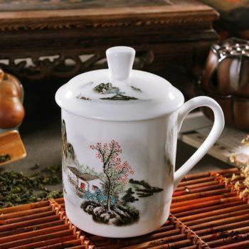 CBDI43-V-13高档骨瓷釉下彩山村秀色图茶杯 品茗杯 老板杯尺寸 高15cm口径9cm容量550ml