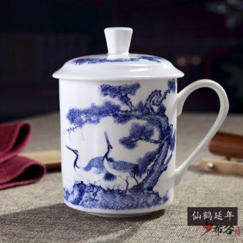 CBDI43-E-39手工高档骨瓷青花松鹤延年图茶杯 品茗杯 老板杯尺寸 高15cm口径9cm容量550ml