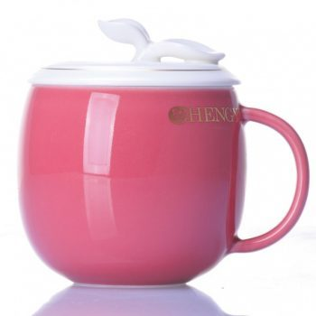 CBAB01-H-09七彩 养生杯 创意颜色釉雕塑花卉提手盖茶杯 品茗杯 尺寸:高 12cm 口径 8.5cm 容量 300ml