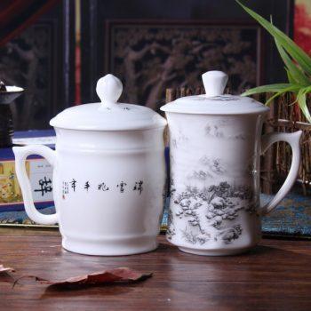 CBDI41-A-04手工高档骨瓷粉彩瑞雪兆丰年图文夫妻对杯 品茗杯 和谐杯尺寸:右 口径 8.5cm 高 15.5cm 容量 约500ml 左 口径 9.5cm 高 15cm 容量约 550ml