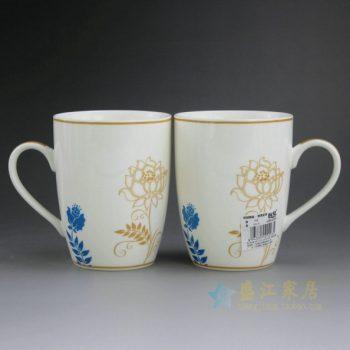 CBAG01-B 9173新骨瓷金边花卉图茶杯 品茗杯 咖啡杯 尺寸:口径 8.2厘米 高 10.6厘米 容量 350毫升