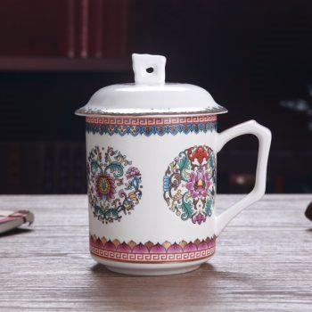 CBDI39-A 127手工高档骨瓷珐琅彩团花屏画茶杯 品茗杯 老板杯尺寸:高15/11cm 口径 11cm 容量 550ml