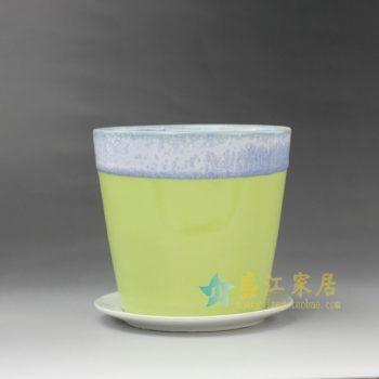 RYYF18-D 7294陶艺流口釉花盆 带托花缽 尺寸:口径 12厘米 托盘径12.5厘米 高 11.6厘米