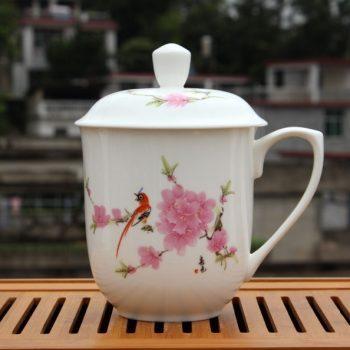 CBDI40-H-01手工高档骨瓷将军杯 粉彩水点桃花茶杯 品茗杯 大号老板杯尺寸:高 17cm 净高 12cm 口径 11cm 容量 850ml 重量 600G