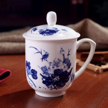 CBDI33-D-09手工高档骨瓷景式杯 青花荷莲翠鸟图茶杯 品茗杯 老板杯尺寸:高15/11cm 口径 11cm 容量 550ml